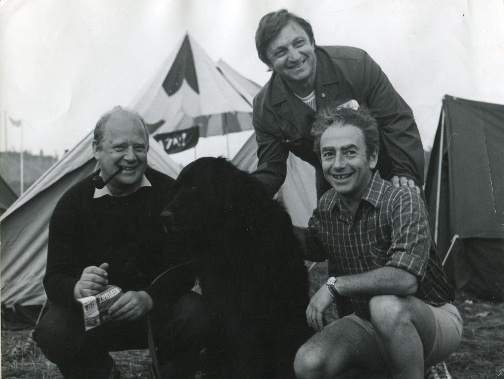 Александр Городницкий, Виктор Берковский и Юрий Визбор на Грушинском фестивале, 1977 год
