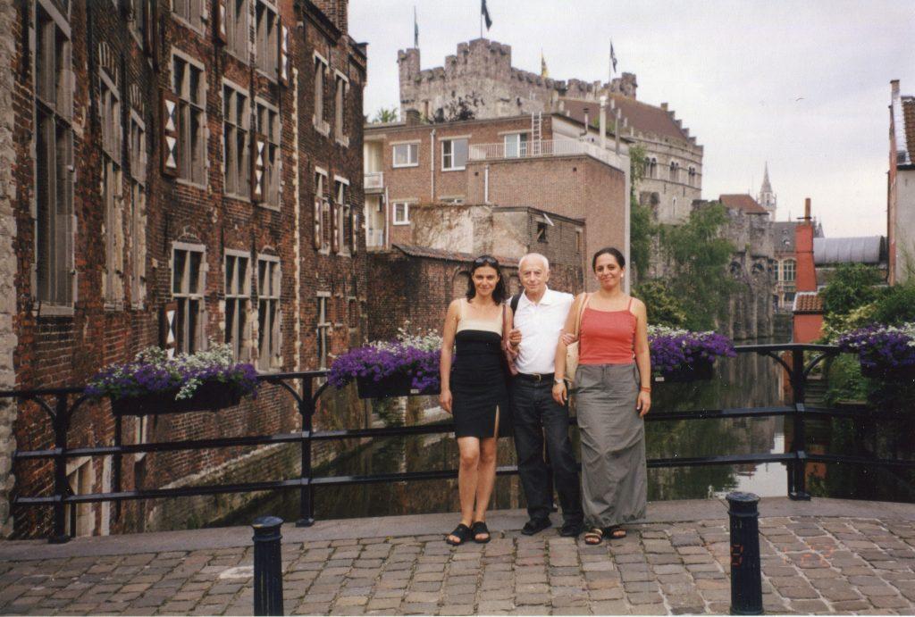 С Натальей Касперович и Лианой Шарифовой на съемках фильма об экологии Балтийского моря, Гент, 2000 год