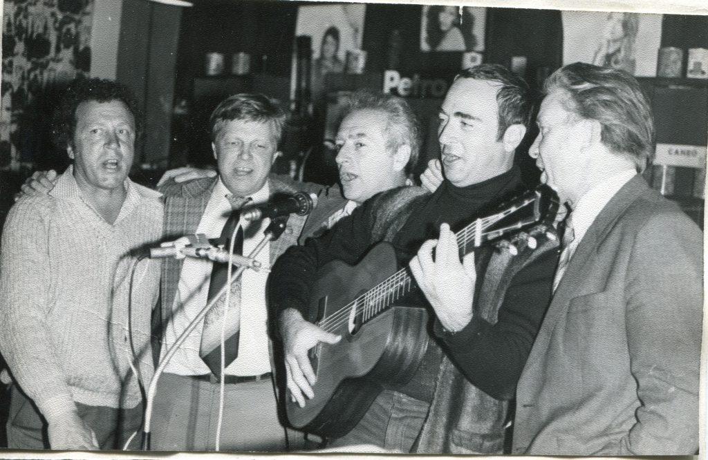 1983 год, клуб «Восток». Слева направо: Юрий Кукин, Борис Полоскин, Александр Городницкий, Михаил Кане, Валентин Глазанов